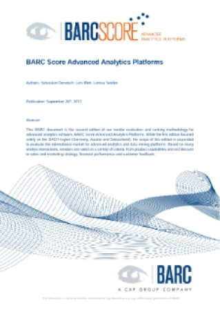 BARC Score Advanced Analytics Platforms, BARC Score: Advanced Analytics Platforms