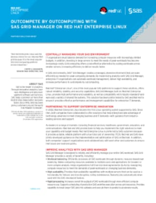 Outcompete by Outcomputing With SAS Grid Manager on Red Hat Enterprise Linux