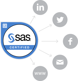 SAS Certified Badge with Social Media Icons