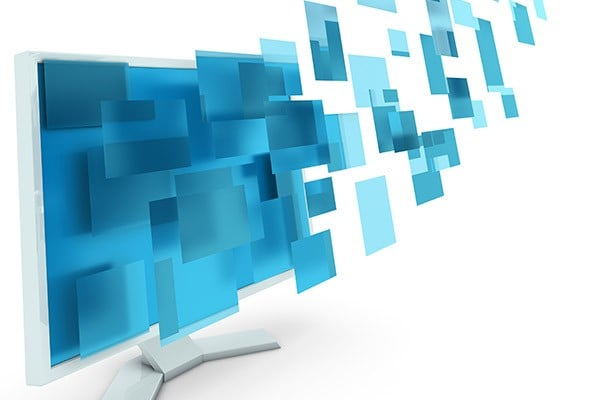blue squares flying out of computer monitor