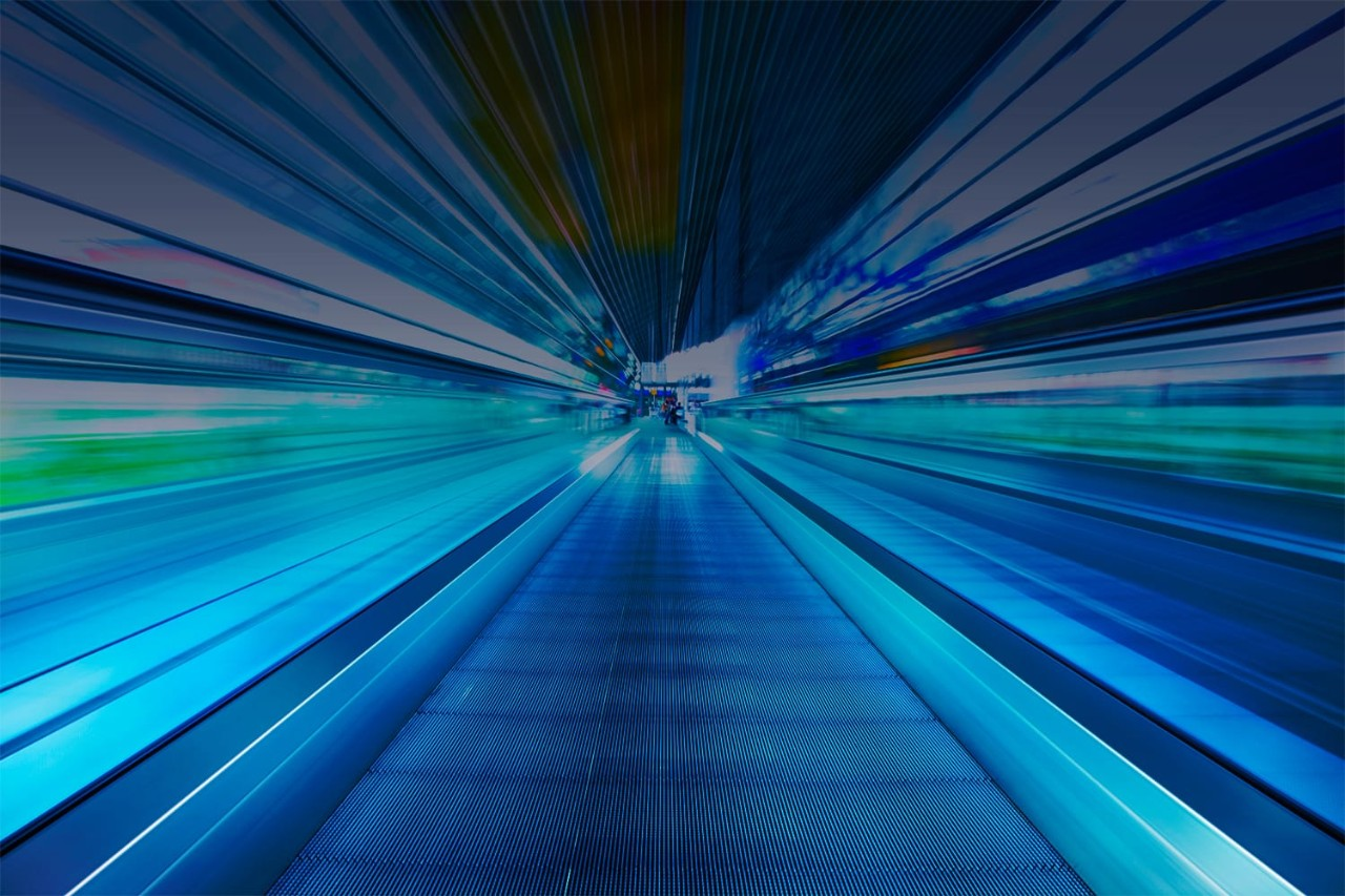 Abstract view of moving walkway