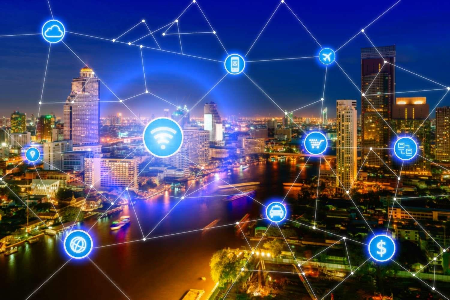 Smart city and wireless communication network, business district with office building, abstract image visual, internet of things concept