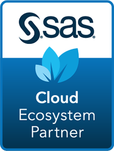 SAS Cloud Ecosystem Partner badge with dark blue background in horizontal format