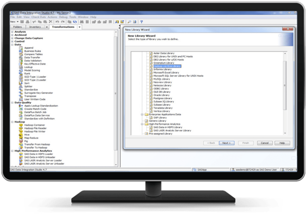 Library wizard showing accessible databases using SAS/ACCESS software shown on desktop monitor