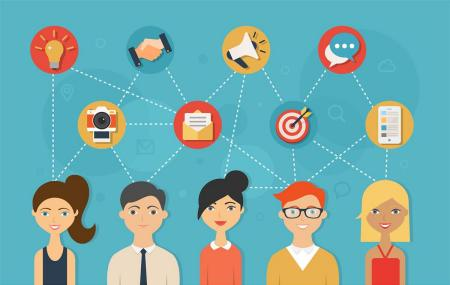 Social network teamwork illustration