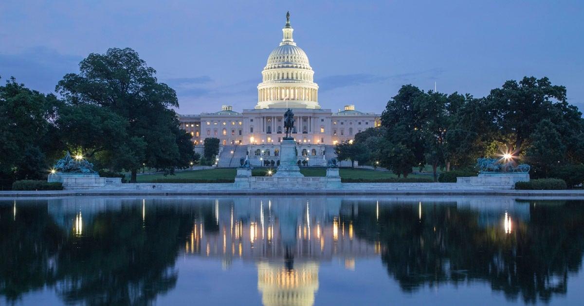 US Capital Building at twilight