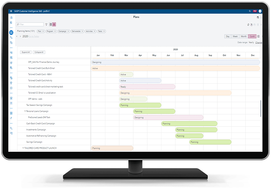 SAS 360 Plan showing gantt chart on on desktop monitor