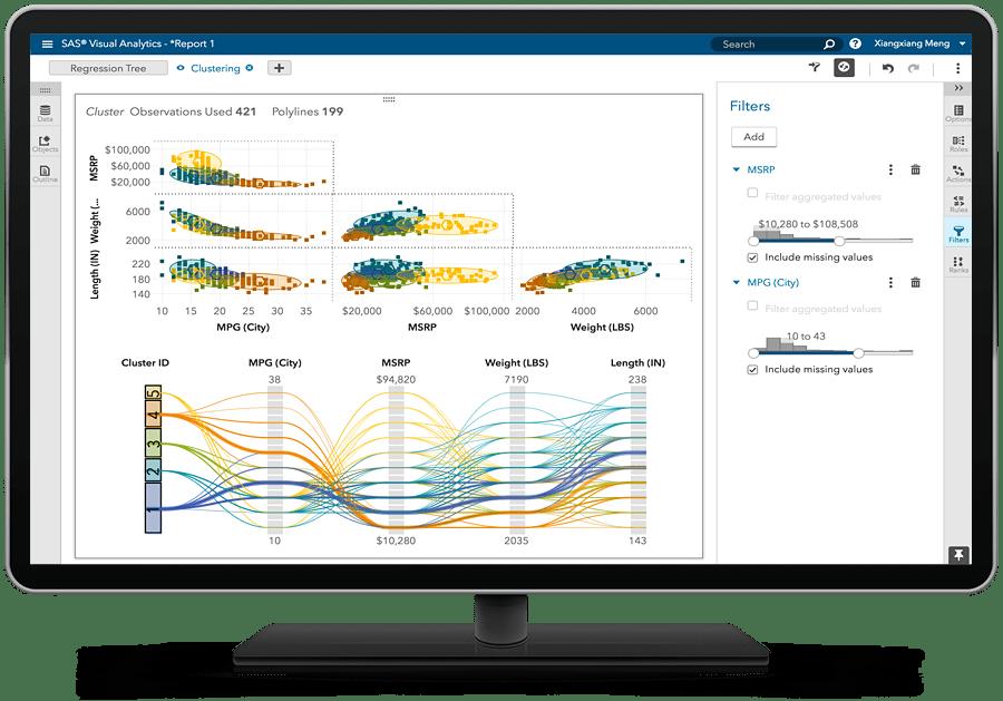 SAS Analytics for IoT showing clustering matrix on desktop monitor