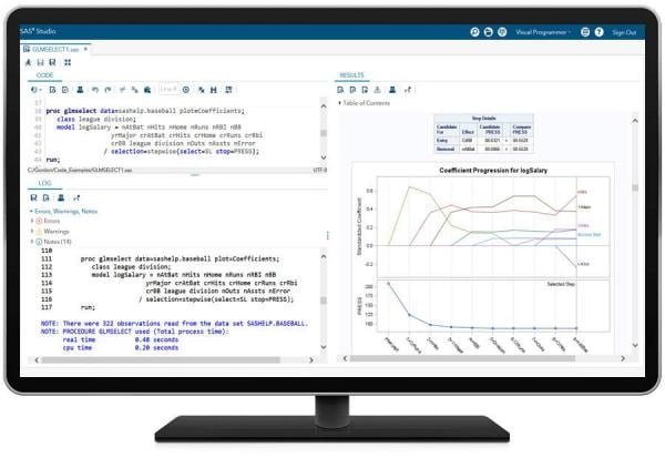 SAS/STAT showing GLMSELECT PROC on desktop monitor