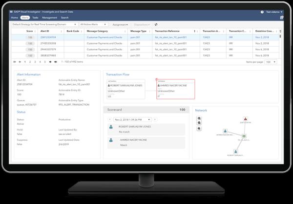 Computer monitor showing SAS Anti-Money Laundering - transparency