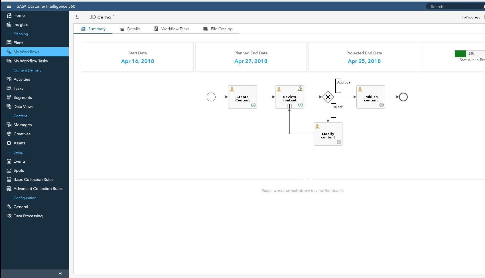 Customer Intelligence 360 Plan Workflow screenshot