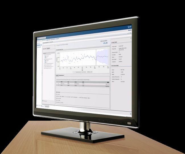 SAS Forecast Analyst Workbench shown on desktop monitor