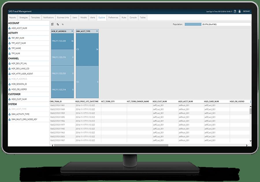 SAS Fraud Management showing risk based decisions on desktop monitor