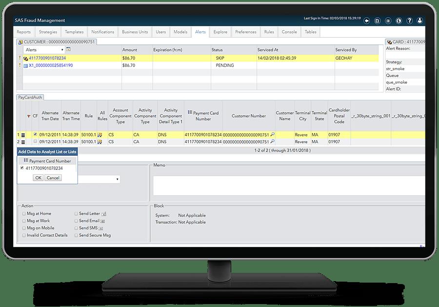SAS Fraud Management showing alert servicing on desktop monitor