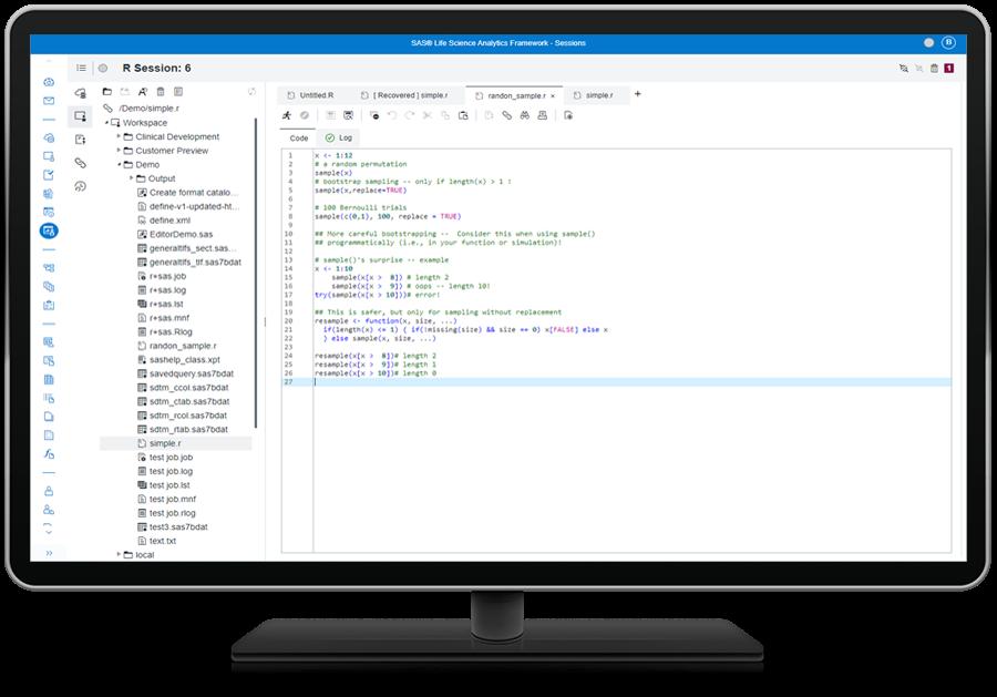 SAS Life Science Analytics Framework showing open source integration on desktop monitor