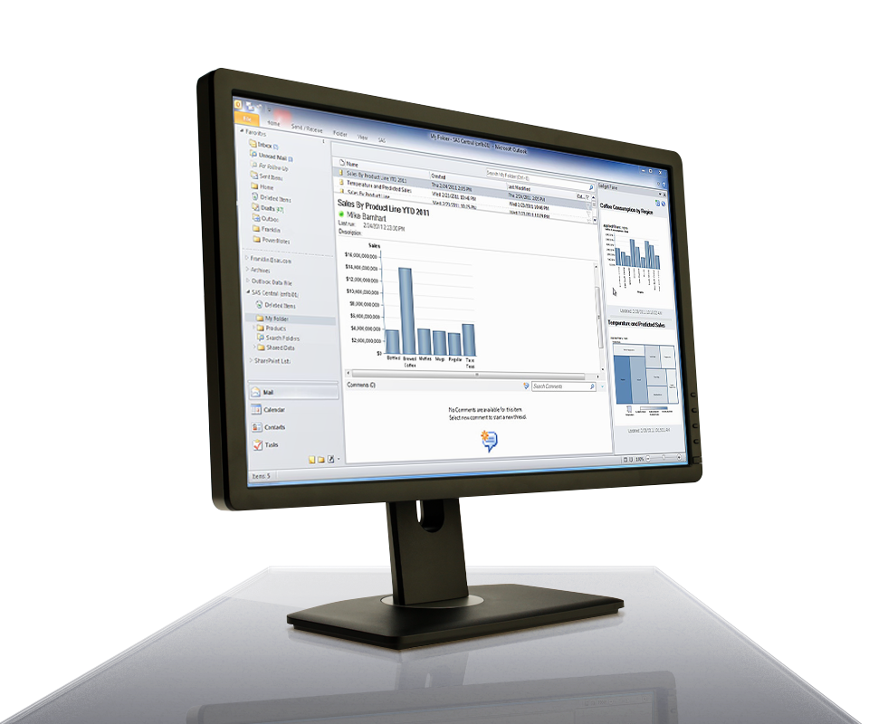 SAS Office Analytics for Midsize Business shown on desktop monitor