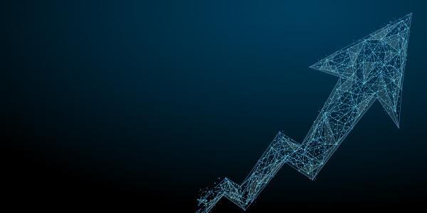 Arrow going up blue mesh illustration