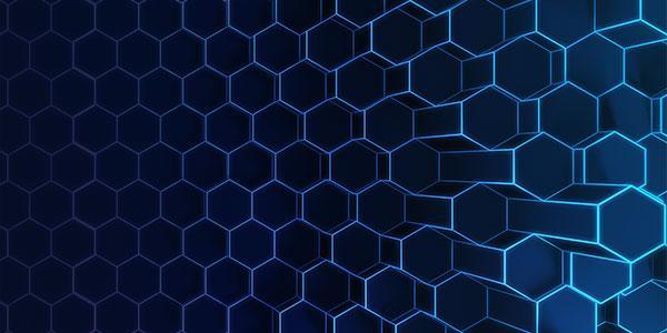 Hexagon graphic in blue
