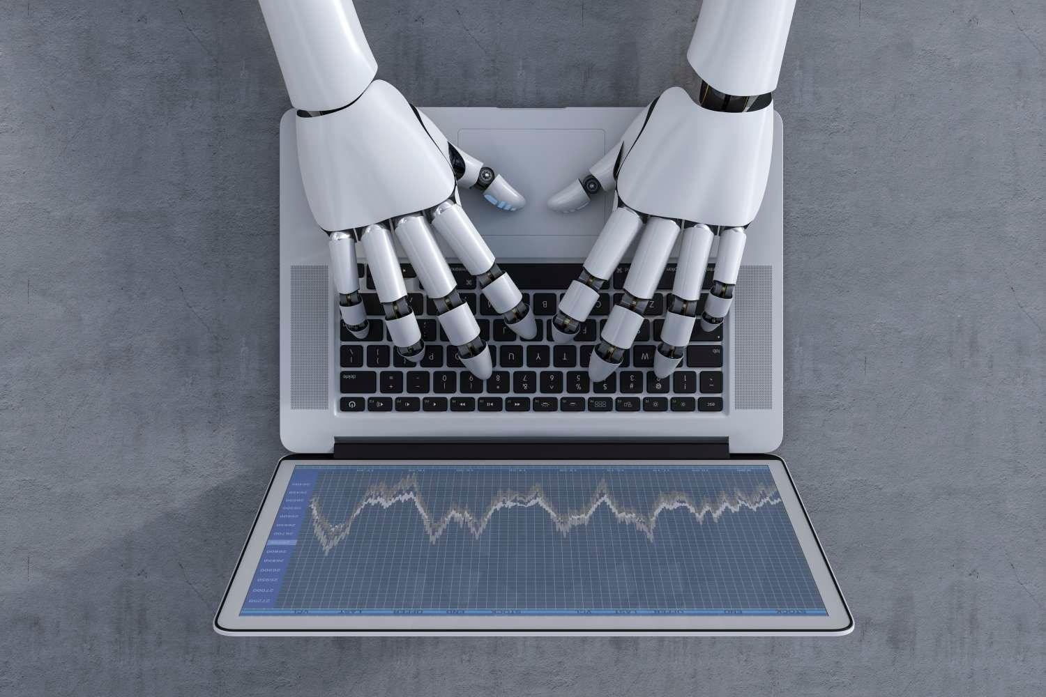3D Rendering Robot Hands Typing On Laptop