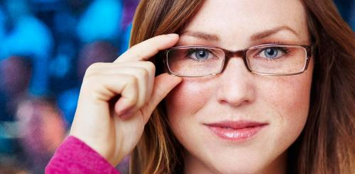 inqusitive woman with glasses