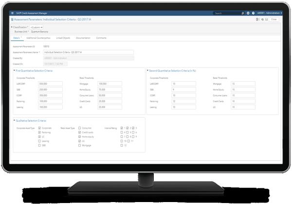SAS® Credit Assessment Manager - assessment parameters