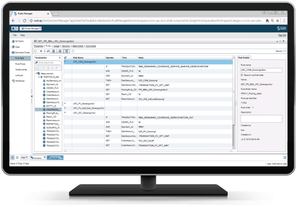 SAS Solution Content for IFRS 17 showing posting rules on desktop monitor