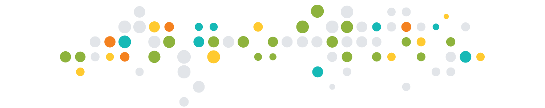Transparent white, green, yellow, blue, and orange circle pattern