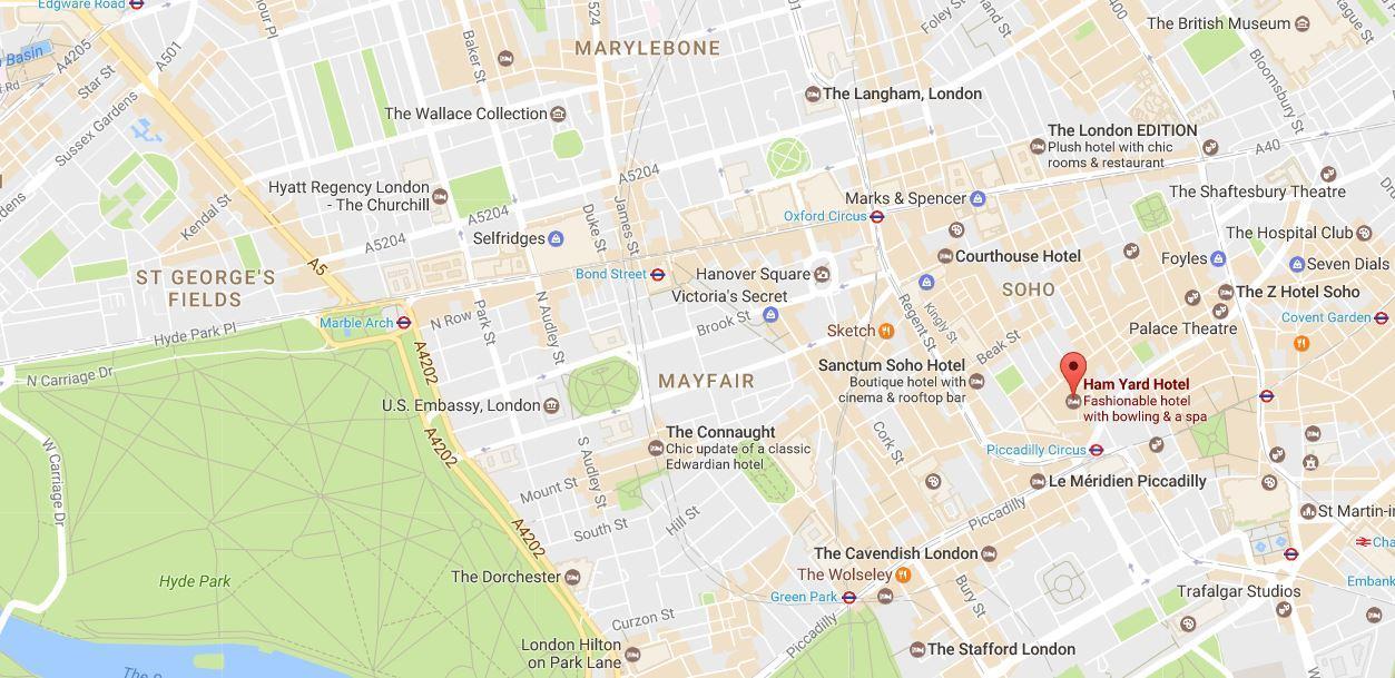 Ham Yard google maps