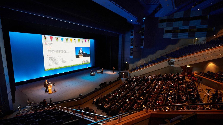 Internal picture of the ICC venue in Birmingham, UK