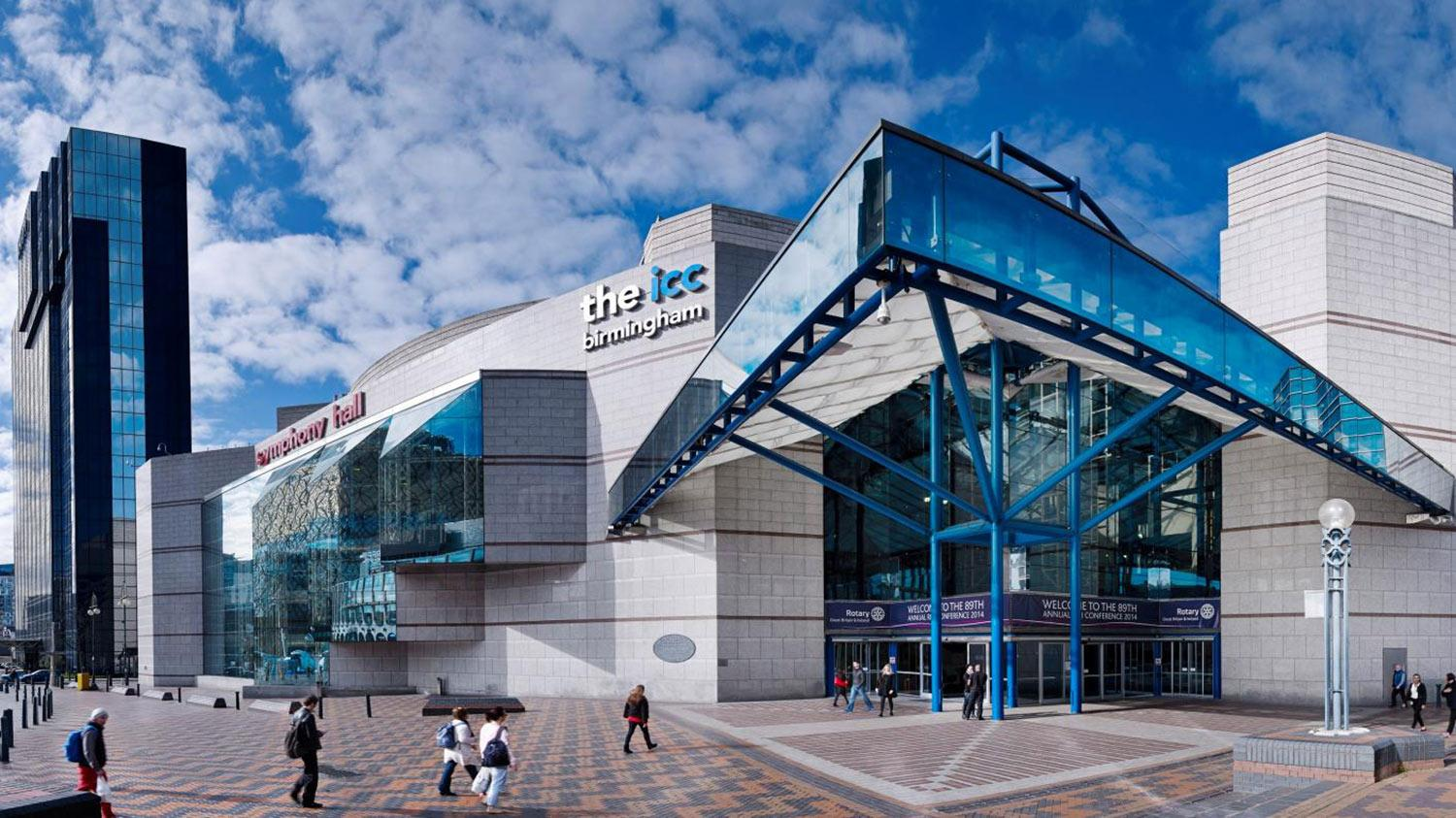 External picture of the ICC venue in Birmingham, UK