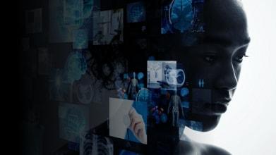 Healthcare AI Human with Black Fade Overlay