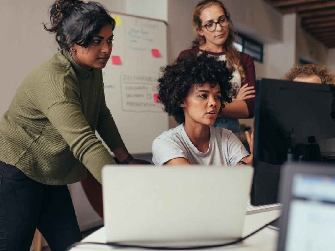 Women Programming in Computer for a Project