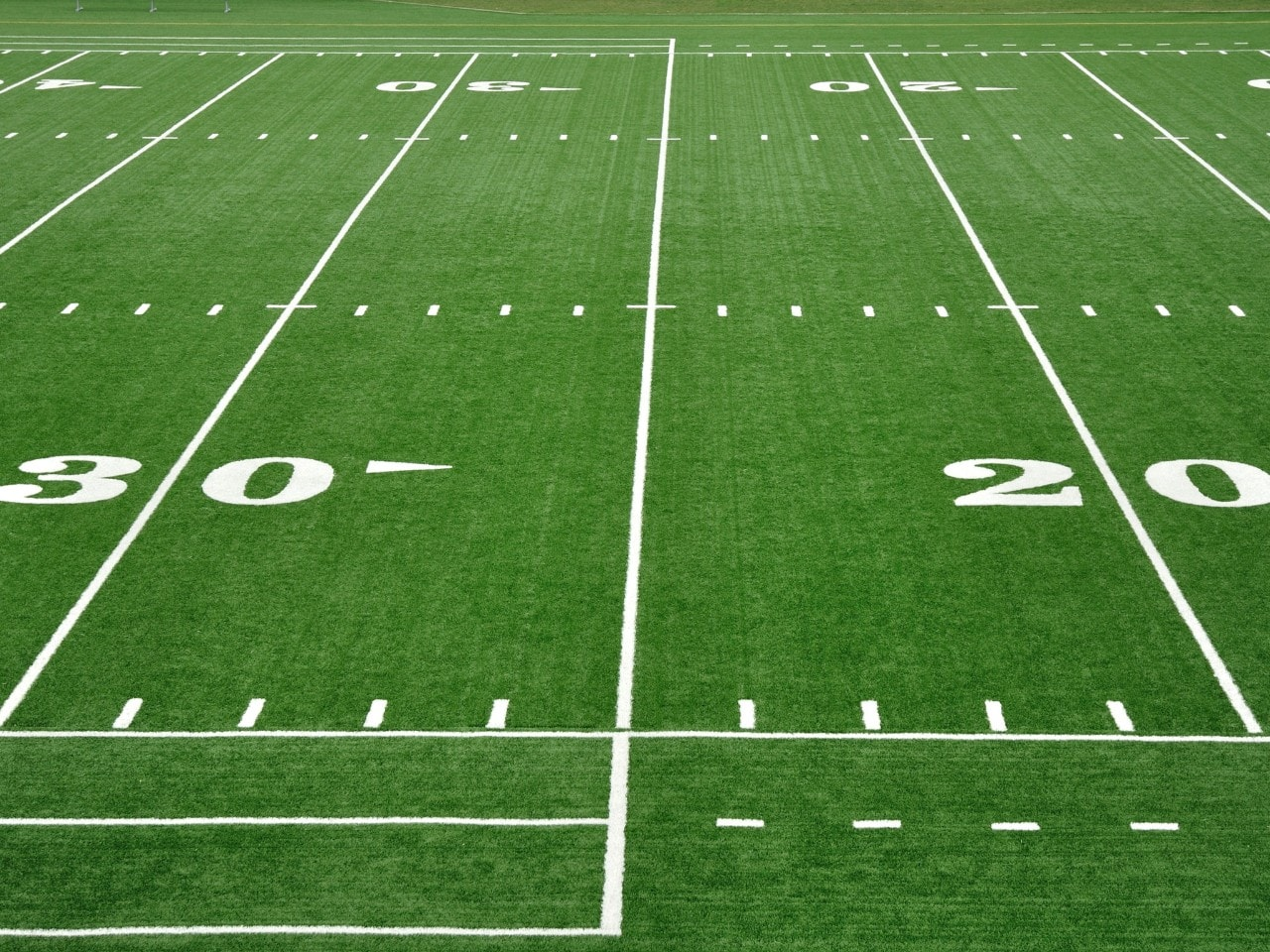 Twenty and Thirty Yard Line on American Football Field