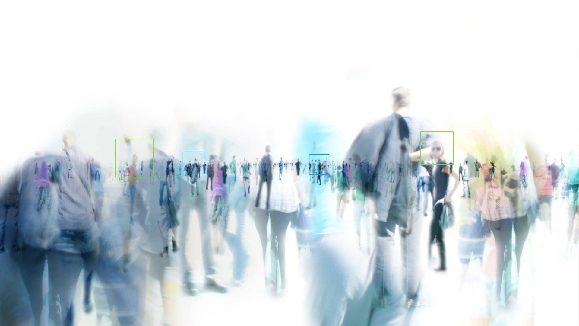 Crowds of people walking