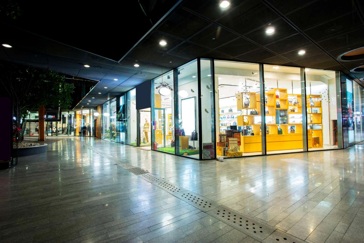 Storefront in a shopping mall at night