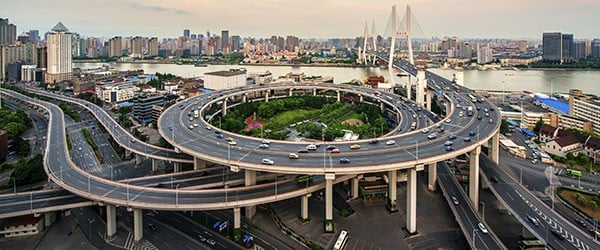 Aerial view of Nanpu Bridge -- aerial view of Shanghai