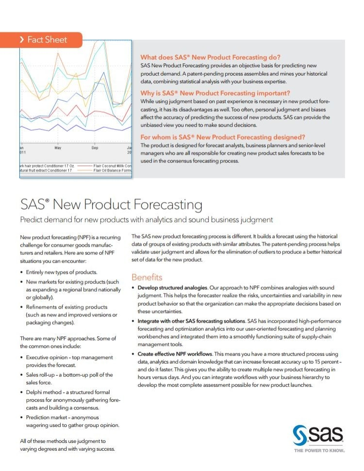 SAS®  New Product Forecasting