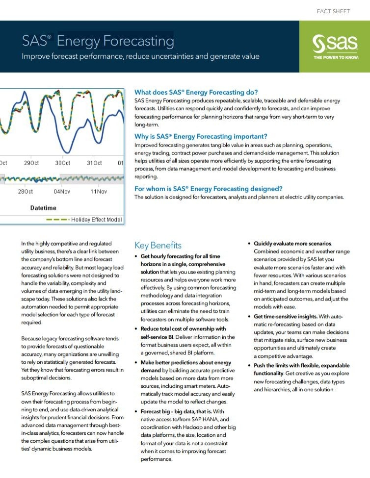 SAS® Energy Forecasting