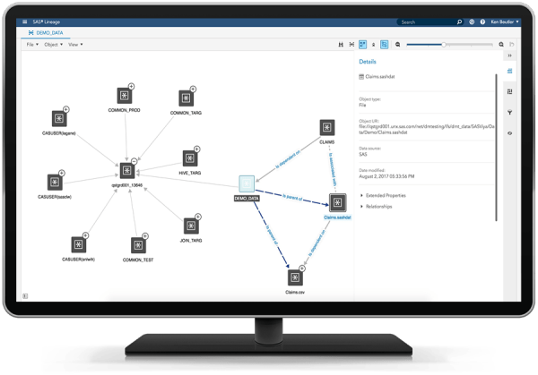 SAS Data Management showing data lineage on desktop monitor