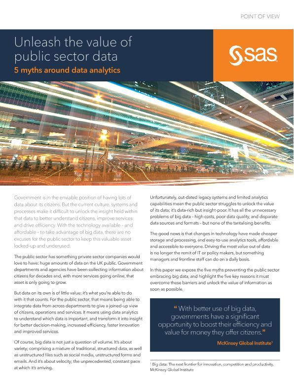 Unleash the value of public sector data - 5 myths around big data