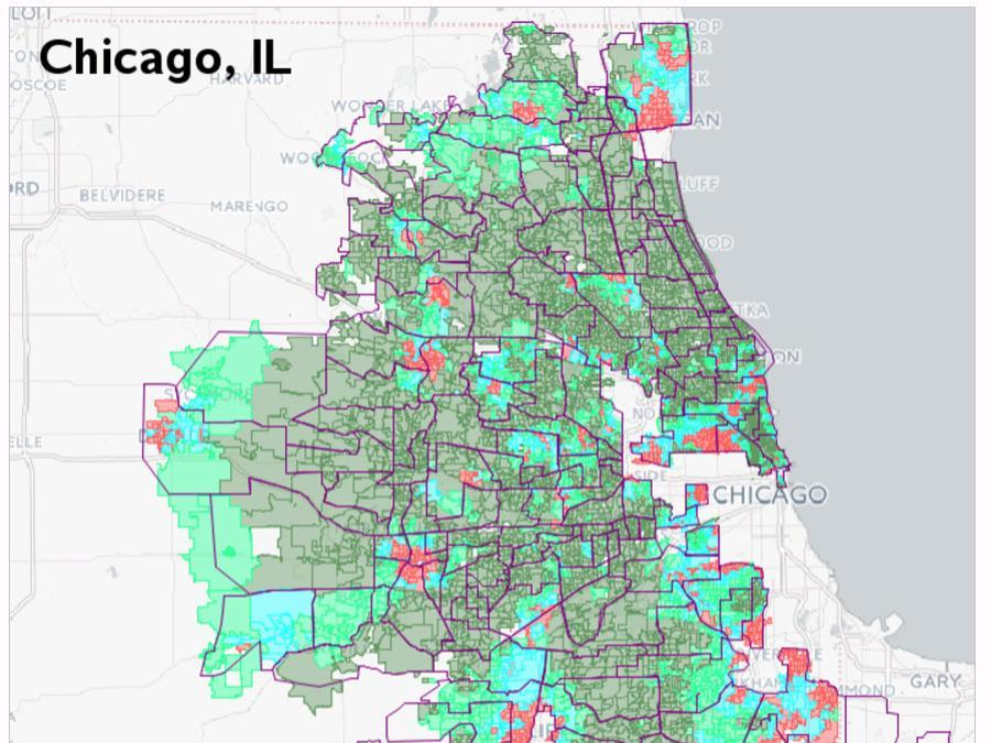 Oberweis Color-Coded Chicago map