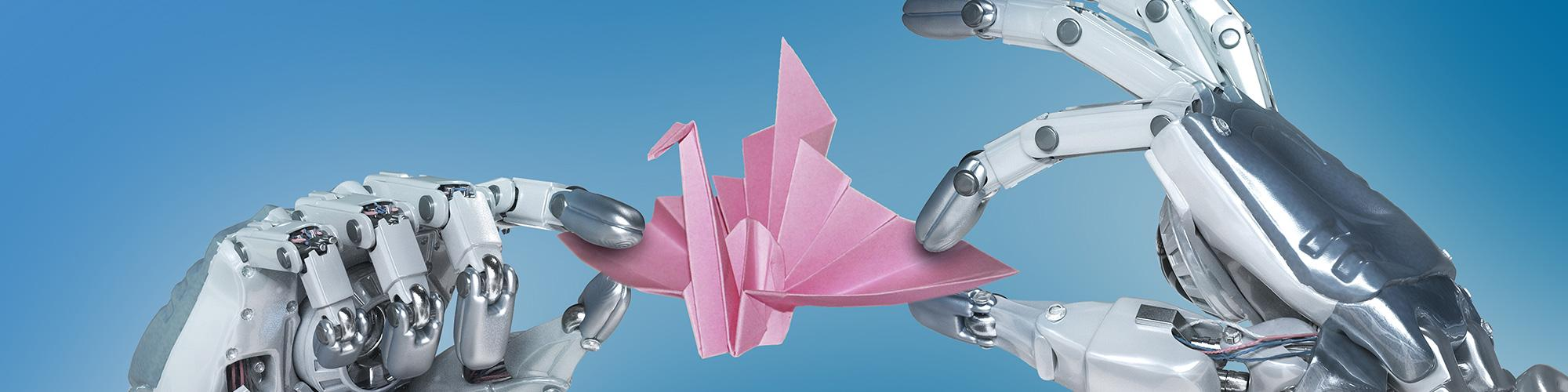 Robot hand making an origami paper crane - Blue Background