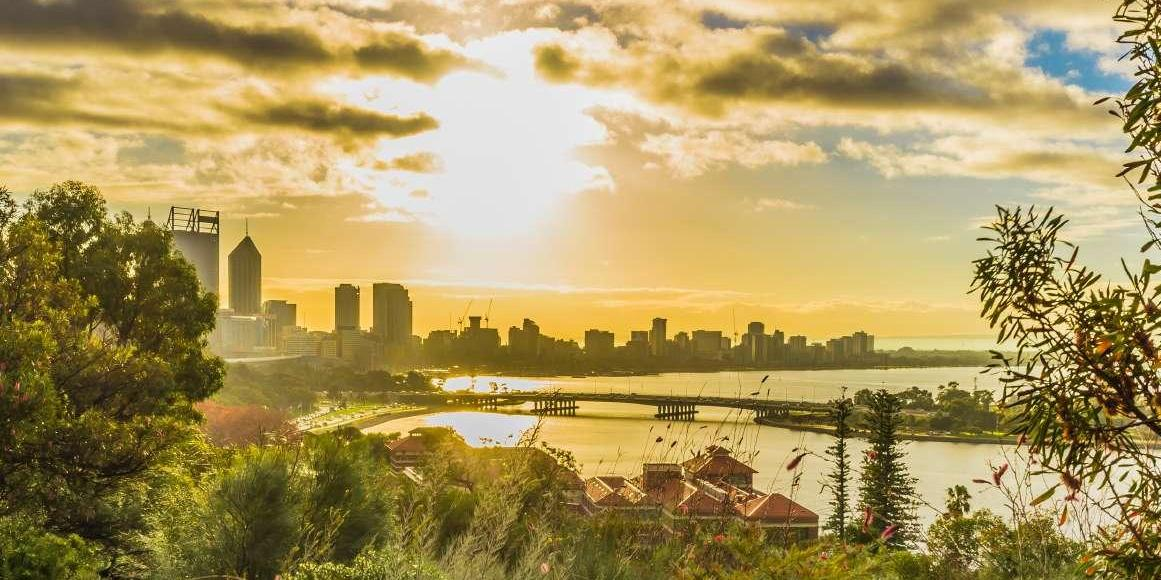 Sunrise of Perth City view at Mount Eliza, Western Australia