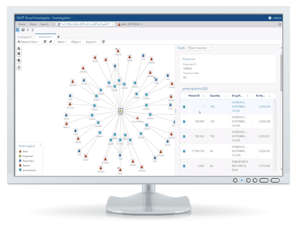 SAS Intelligence and Investigation Management displayed on desktop monitor