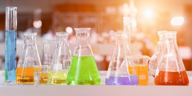 Beakers in lab