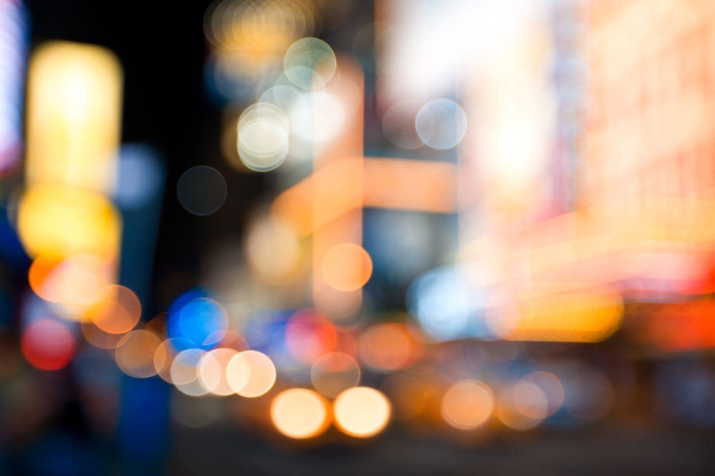 Street lights with bokeh effect
