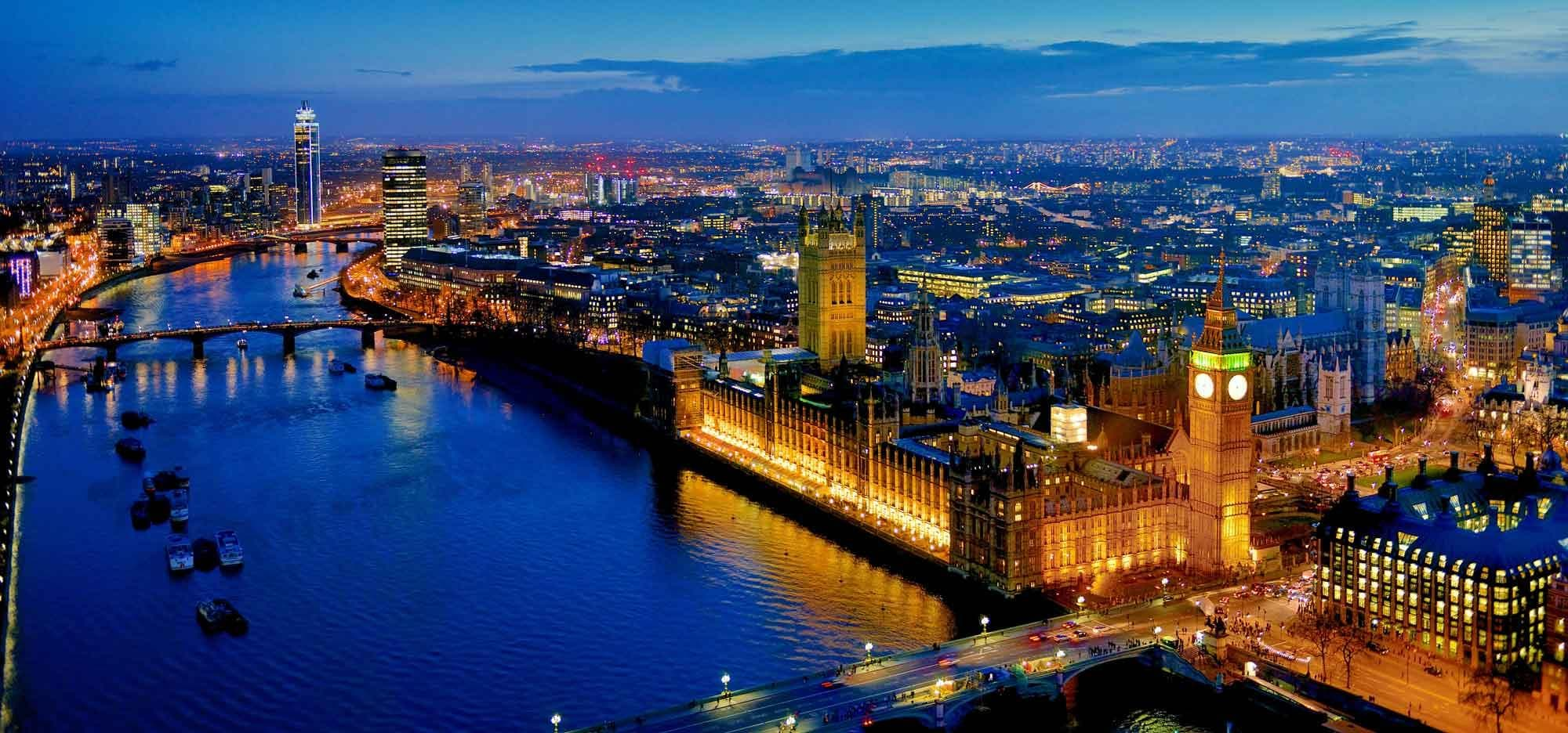 Aerial view of London at sunset