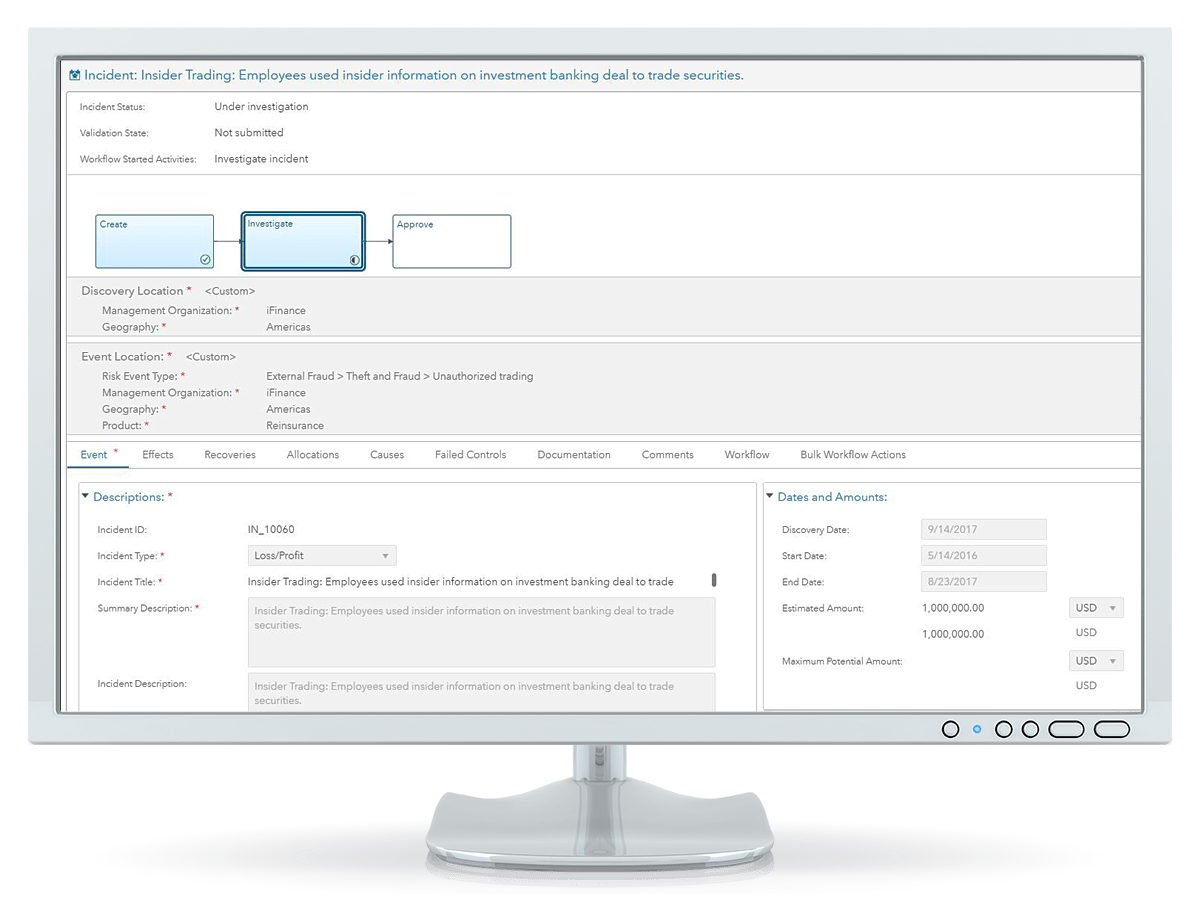 SAS Governance and Compliance Manager showing incident management on desktop monitor