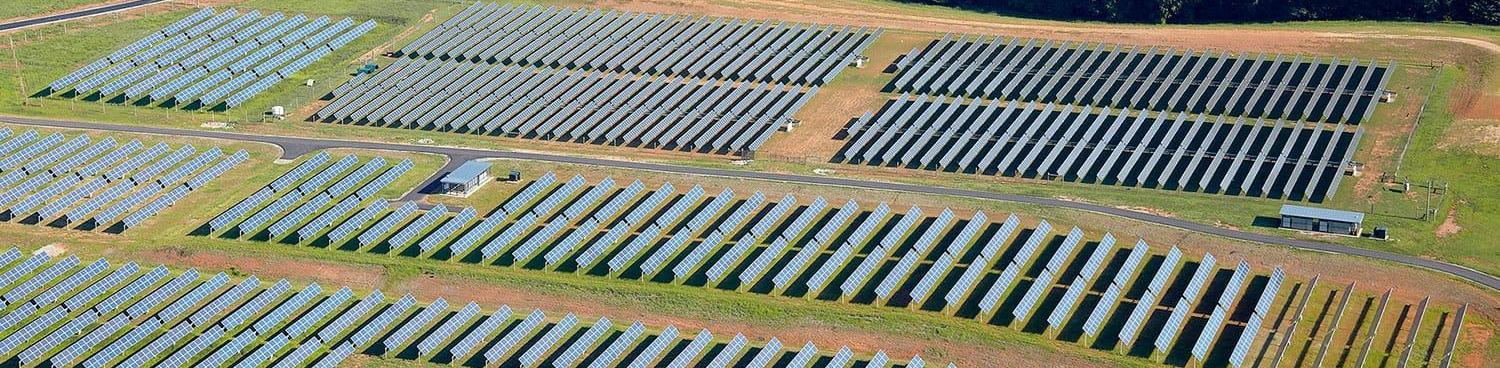 arial view of solar farm at SAS headquarters in Cary NC