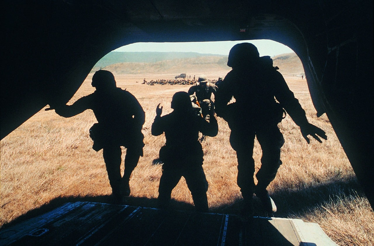 Soldiers boarding Helicopter in training